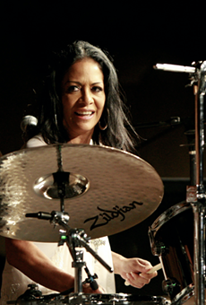 Sheila E. hitting the skins.