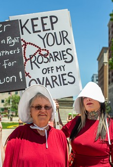 A Handmaid's Tale-themed pro-choice rally in Lansing.