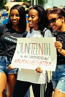 Young women celebrate Juneteenth in Grant Park, Chicago on June 19, 2020.