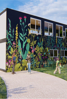 A rendering showing Bees in the D's proposed community garden and pollination center.