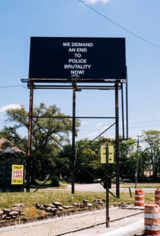 """""""WE DEMAND AN END TO POLICE BRUTALITY NOW!"""", 2019 // 22"""" X 11"""" feet, Billboard, W Warren Ave & Wesson St, Detroit, Michigan."""