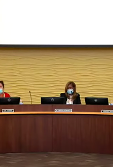 The Birmingham Public Schools Board of Education during a meeting where a Bloomfield Hills man flashed a Nazi salute.