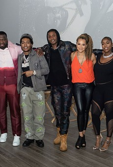 """From left: BMF cast and crew Randy Huggins, Curtis """"50 Cent"""" Jackson, Demetrius """"Lil Meech"""" Flenory Jr., Da'Vinchi, Michole Briana White, Arkeisha """"Kash Doll"""" Knight, and Russell Hornsby."""