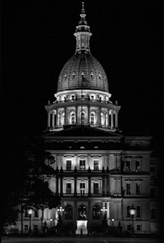 Lansing State Capitol Building in Michigan under the cover of darkness.