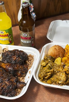 Jerk chicken and curry chicken at Jamaica Jamaica