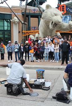 Street drummers in Detroit.