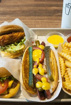 Shackburger, Chick'n Shack, Shack-cago Dog, fries.