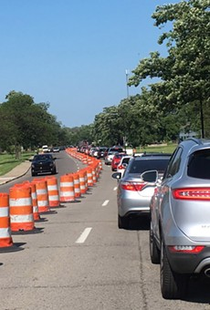 One of many recent traffic jams on Belle Isle.