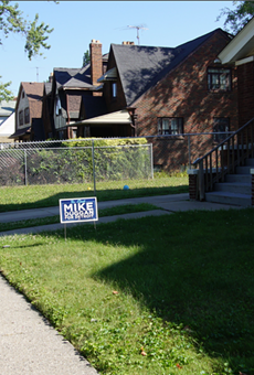 Campaign signs on Lakewood Street in Detroit.