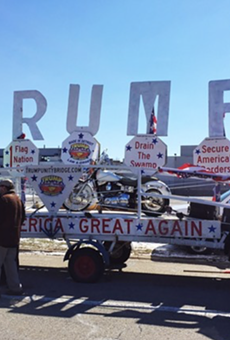 The 'Trump Unity Bridge' stationed in Ypsilanti Township during a visit from the president in March.