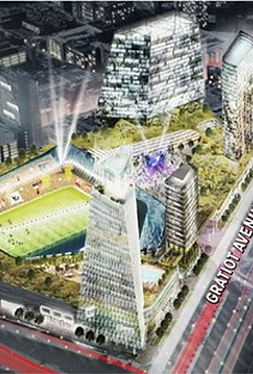"Digital rendering of the proposed $1 billion mixed-use soccer stadium development at the ""fail jail"" site."