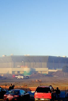 Pontiac Silverdome after the initial, failed implosion.