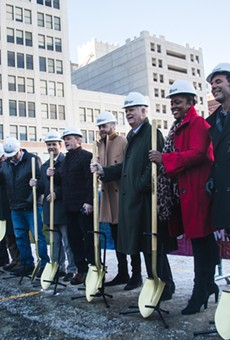 Gilbert and Detroit city officials during the ceremonial groundbreaking.