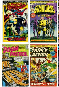 Various comic book covers from Corey Gross' personal collection, on view at U-M Dearborn's Alfred Berkowitz Gallery.