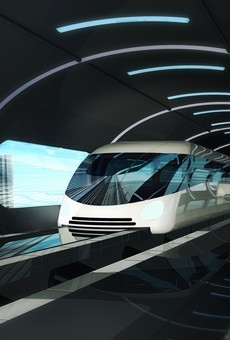 Rendering of a proposed high-speed magnetic levitation train.