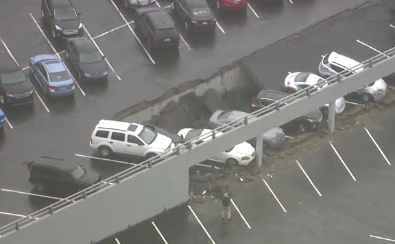 Parking deck collapse in downtown Detroit. - WDIV