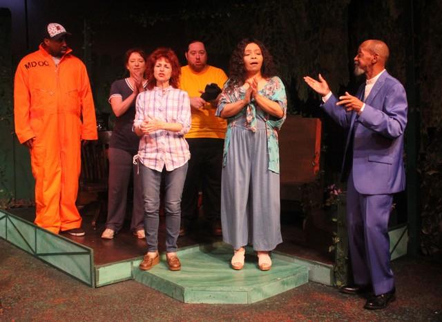 The cast of the Rep's new play is (l to r) Will Bryson, Leah Smith, Linda Rabin Hammell, Aral Gribble, Jenaya Jones Reynolds, and Cornell Markham. - PHOTO COURTESY THE DETROIT REPERTORY THEATRE