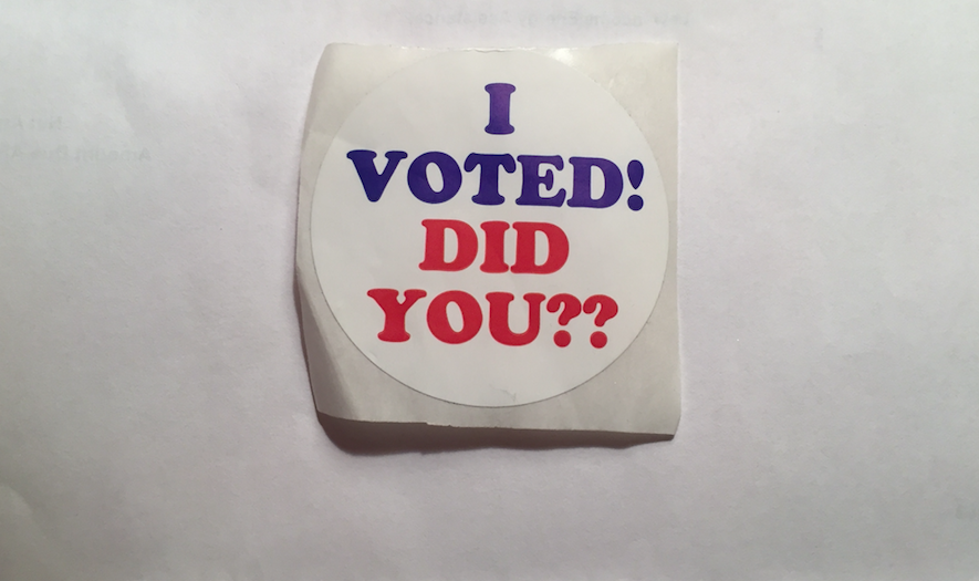 A voter sticker from a polling precinct in Detroit. - VIOLET IKONOMOVA