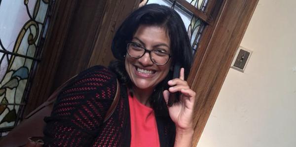Rashida Tlaib, the Democratic primary winner for Michigan's 13th congressional district, takes a call from Sen. Bernie Sanders. - TWITTER, @RASHIDATLAIB