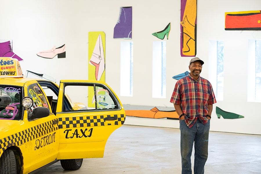 Artist Tyree Guyton directs the installation of 2+2=8 Tyree Guyton: Thirty Years of Heidelberg at Museum of Contemporary Art Detroit. - NOAH ELLIOTT MORRISON