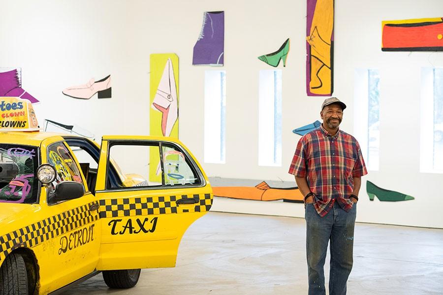 Artist Tyree Guyton directs the installation of 2+2=8 Tyree Guyton: Thirty Years of Heidelberg at Museum of Contemporary Art Detroit. - NOAH ELLIOTT MORRISON