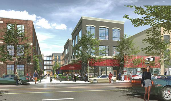 "A street-level view of Trumbull just north of Michigan. The development includes a ""greenway,"" and we think it's that walkable area next to the restaurant with outdoor seating. - ARTIST RENDERING"
