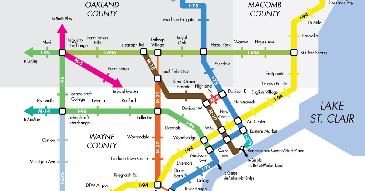 Subway Map To Coney Island.Here S What Detroit S Freeways Would Look Like As A Subway Map The