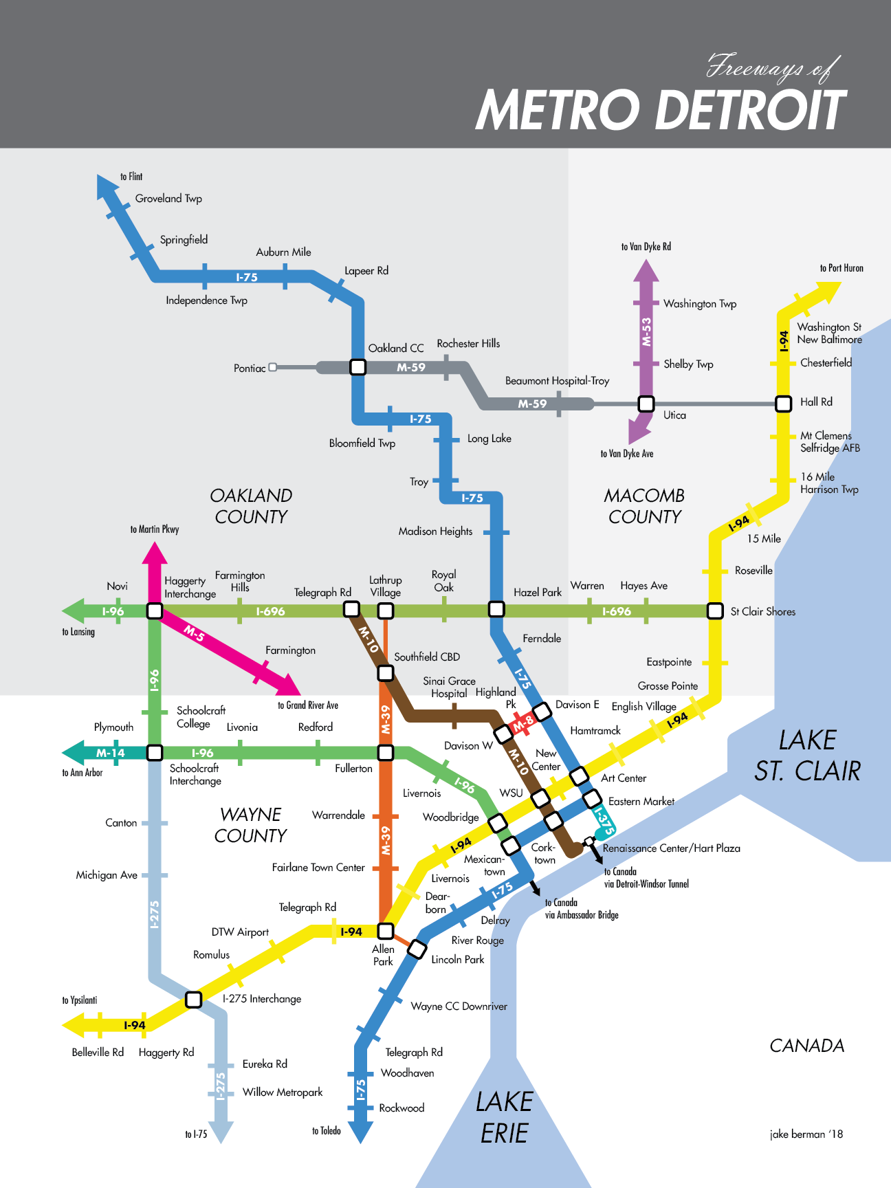 map of detroit metro area Here S What Detroit S Freeways Would Look Like As A Subway Map map of detroit metro area