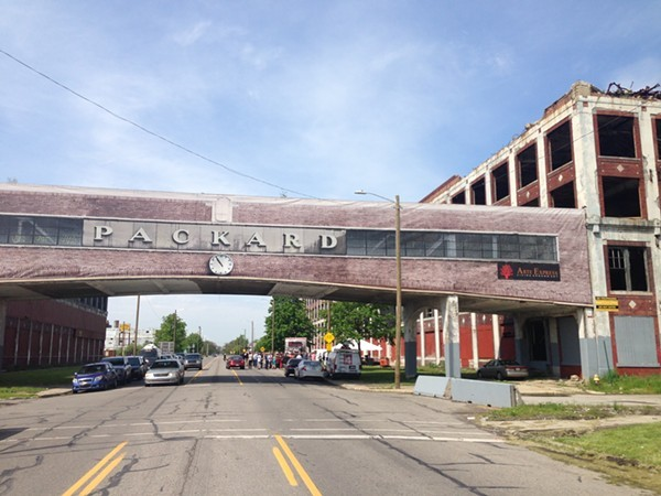 The Packard Plant bridge in its former glory. - LEE DEVITO