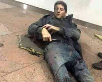 This photo tweeted by Belgian basketball team BC Telenet Oostende shows former Oakland University player Sebastien Bellin lying injured after a bomb exploded in the Brussels airport. - PHOTO VIA TWITTER