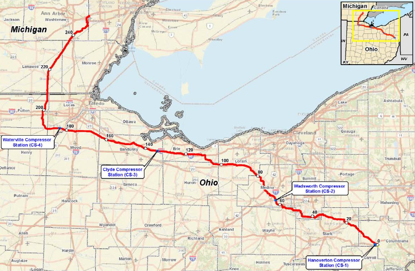 FERC - The NEXUS pipeline route. - FERC