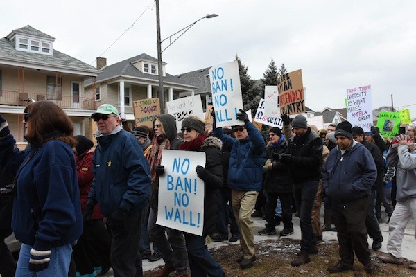 Marchers made their voices heard yesterday after a protest outside Hamtramck City Hall. - PHOTO COURTESY RACHEL TIMLIN
