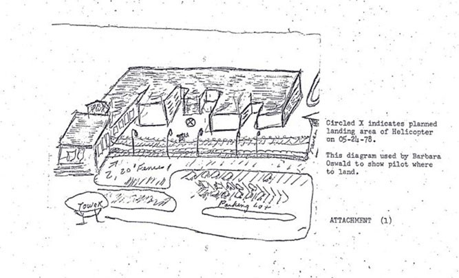 A hand-drawn map found in Barbara Oswald's possession after her death. - NATIONAL ARCHIVES AT KANSAS CITY
