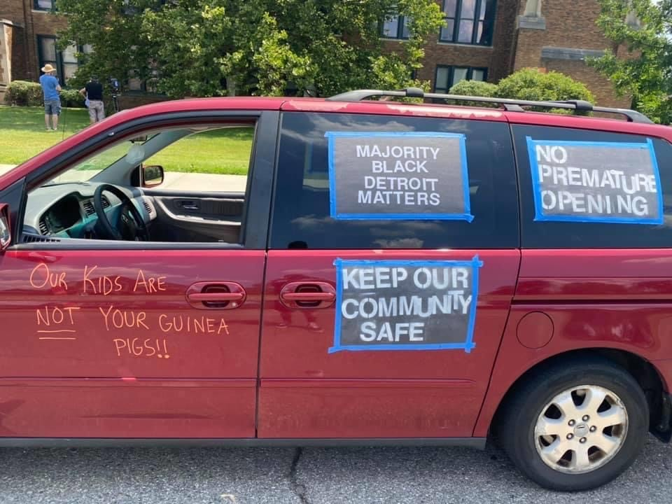 """NOT your guinea pigs!"" A caravan of concerned Detroiters protest reopening the city's public schools. - COURTESY OF BAMN"