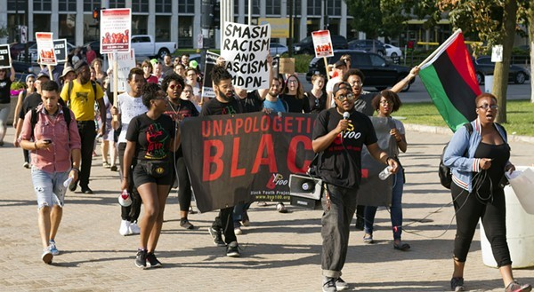 Black Detroiters marching for racial justice. - STEVE NEAVLING