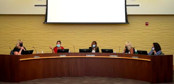 The Birmingham Public Schools Board of Education during a meeting where a Bloomfield Hills man flashed a Nazi salute. - BIRMINGHAM PUBLIC SCHOOLS/YOUTUBE