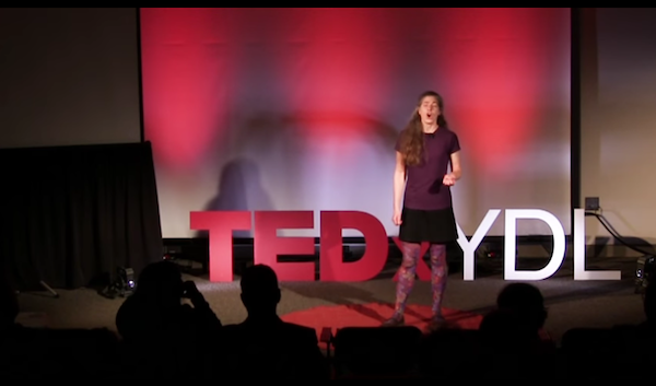 Erin Howarth discusses adult illiteracy at last year's TDCxYDL. - SCREENGRAB FROM TEDXYDL SITE
