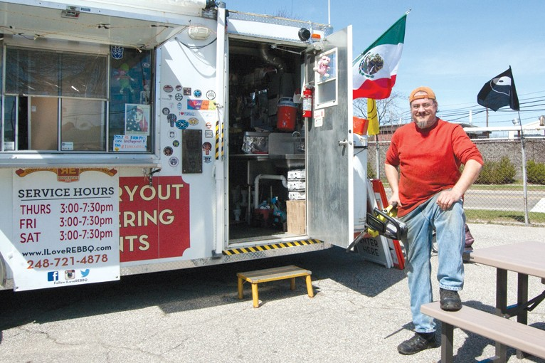 Bob Perye's stationary food truck is Ferndale's neighborhood barbecue joint. - LEE DEVITO