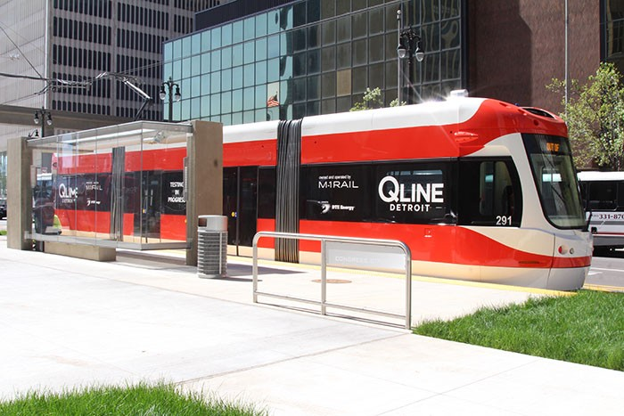 Detroit's new QLine streetcar, which will open to the public Friday. - SARAH RAHAL