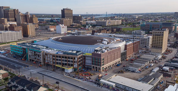The Little Caesars Arena under construction along Woodward Avenue in Detroit. - OLYMPIA ENTERTAINMENT
