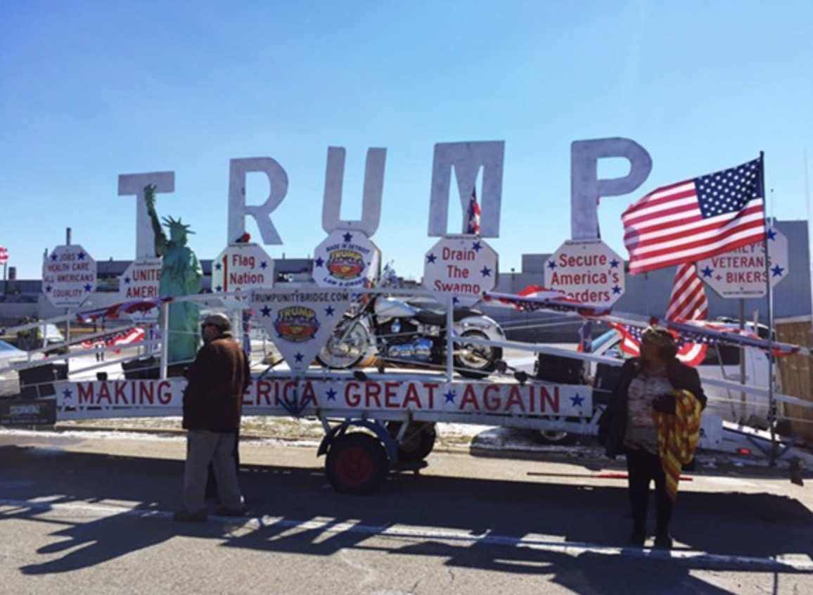 Click To Enlarge The Trump Unity Bridge Stationed In Ypsilanti Township During A Visit From President