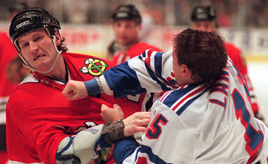 Yeah, we know, that's Probert fighting Darren Langdon, not Wendel Clark. Well, it's not like free pro sports photos grow on trees, now, do they? - COURTESY WIKIPEDIA COMMONS,