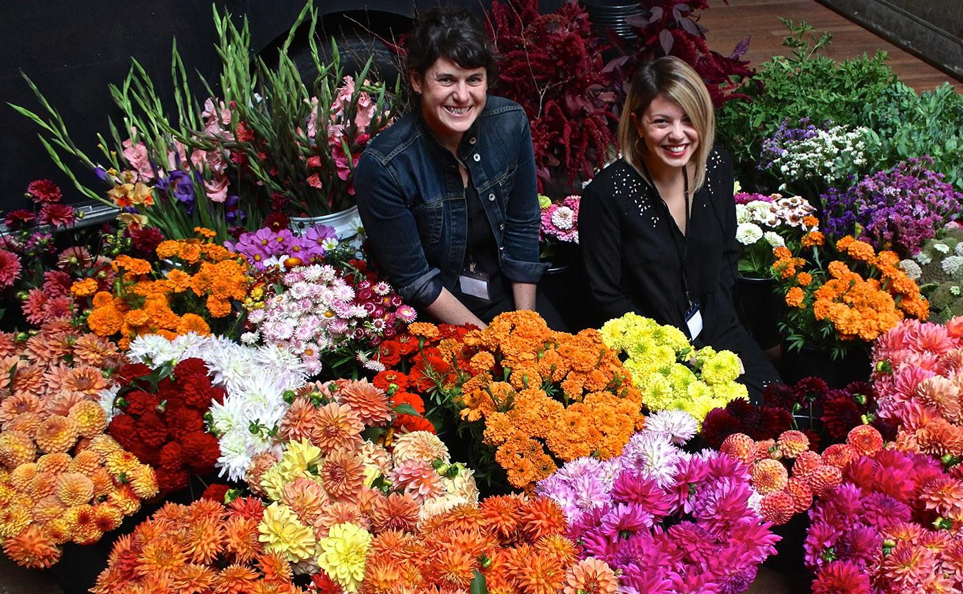 click to enlarge Lisa Waud (left) and Haley Lertola during Detroit Flower Week. - SARAH ROSE