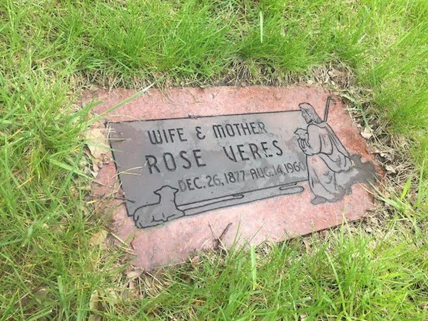 Rose Veres' grave in Woodmere Cemetery, Detroit. - PHOTO COURTESY KAREN DYBIS