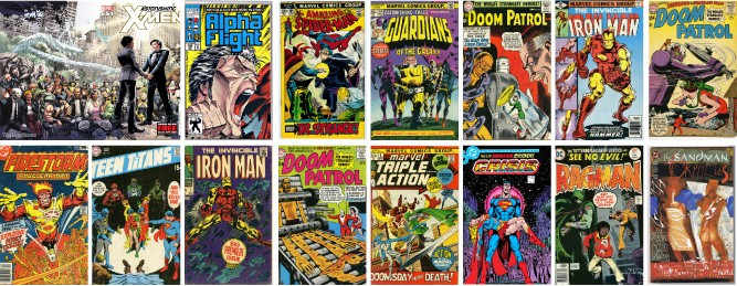 Various comic book covers from Corey Gross' personal collection, on view at U-M Dearborn's Alfred Berkowitz Gallery. - COURTESY PHOTOS