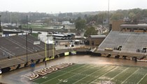 Western Michigan University's flooded football stadium is bananas