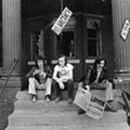 Barry Kramer, Dave Marsh, and Lester Bangs outside <I>Creem</i>'s Cass Corridor offices, circa 1969.