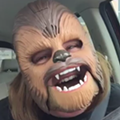 This lady wearing a Chewbacca mask will make your day