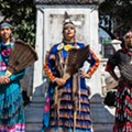 Stunning photo shows Indigenous women posing where Detroit's Christopher Columbus statue stood