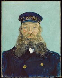 """DETROIT INSTITUTE OF ARTS - """"Portrait of Postman Roulin,"""" 1888, Vincent van Gogh, Dutch; oil on canvas."""